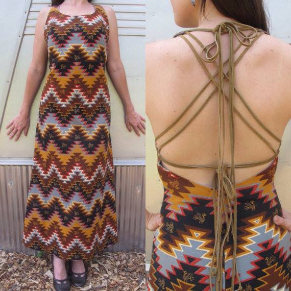 Vintage Tribal Suede Crossback Dress