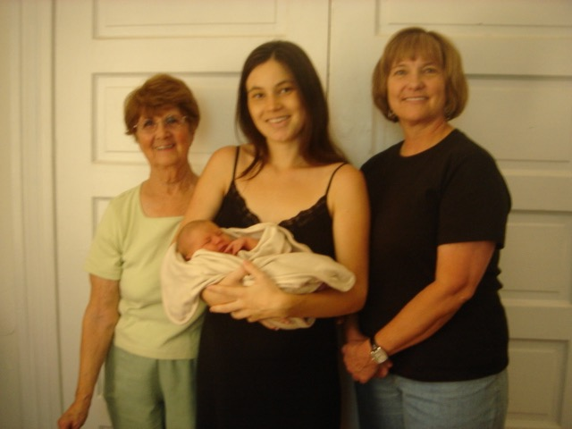 We always took a Four Generations photo when we were together, starting here a few days after Mycelia's birth.