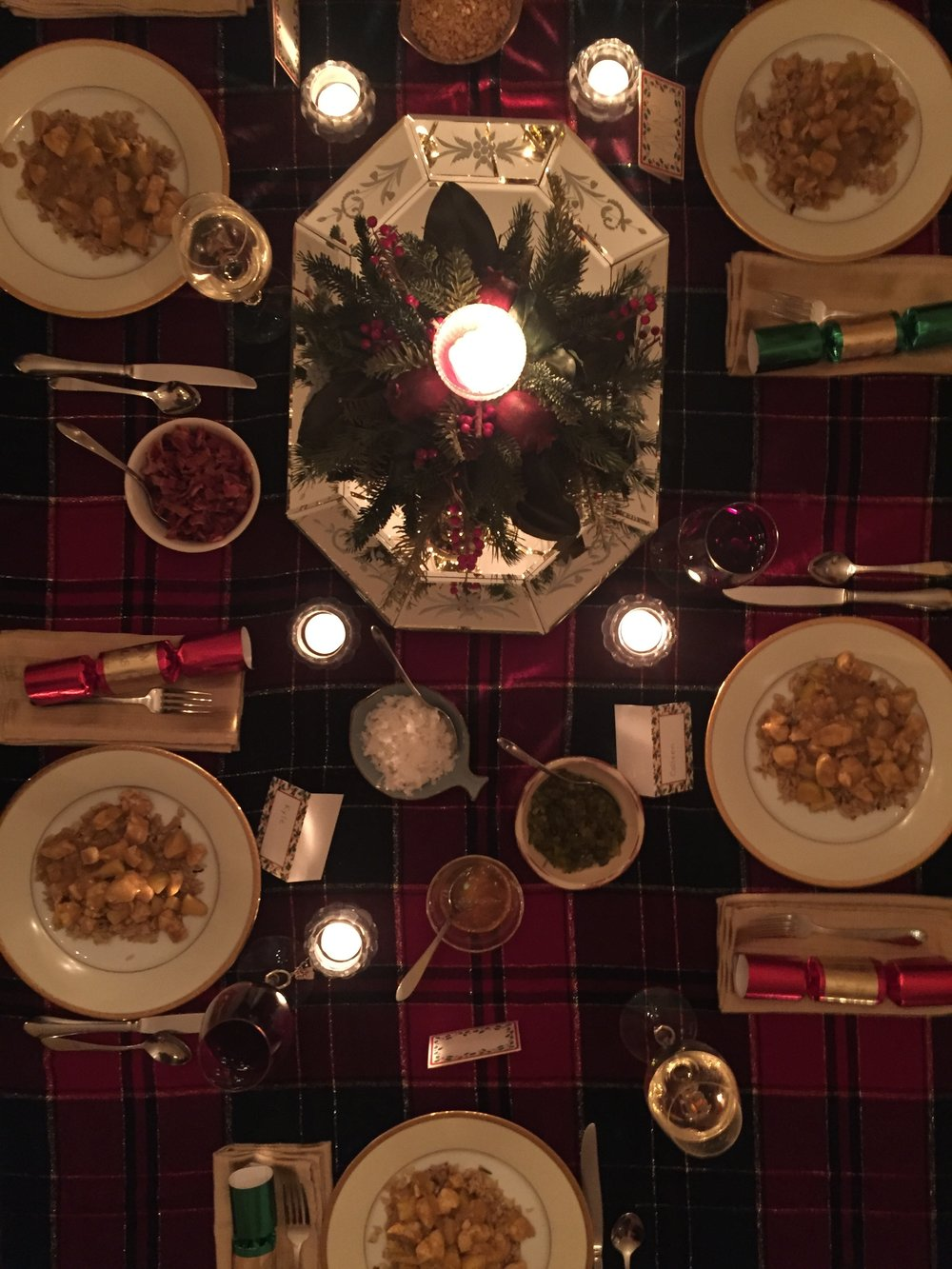 A beautifully set Christmas table