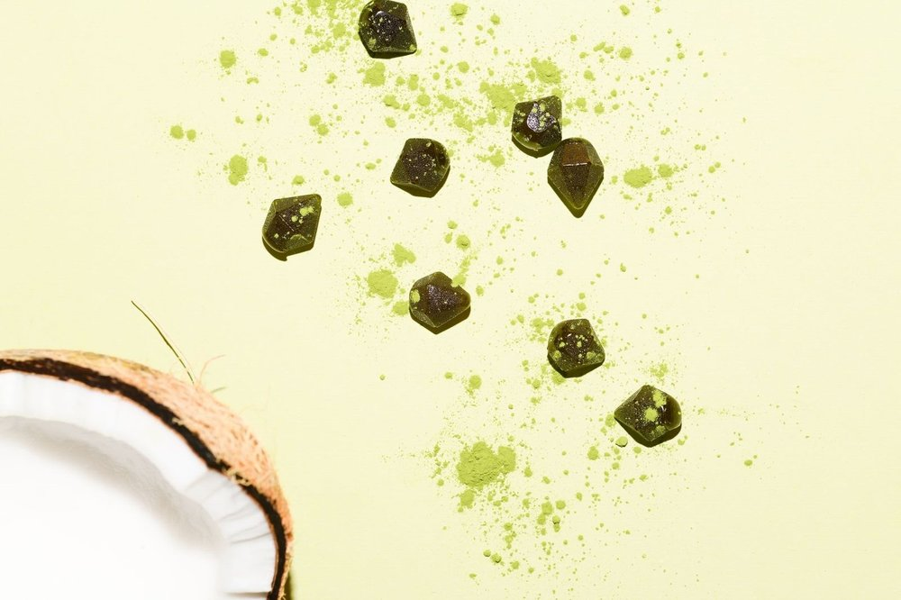 Coconut Matcha - Infused with Green Calcite essence and real matcha powder, and natural coconut flavor.