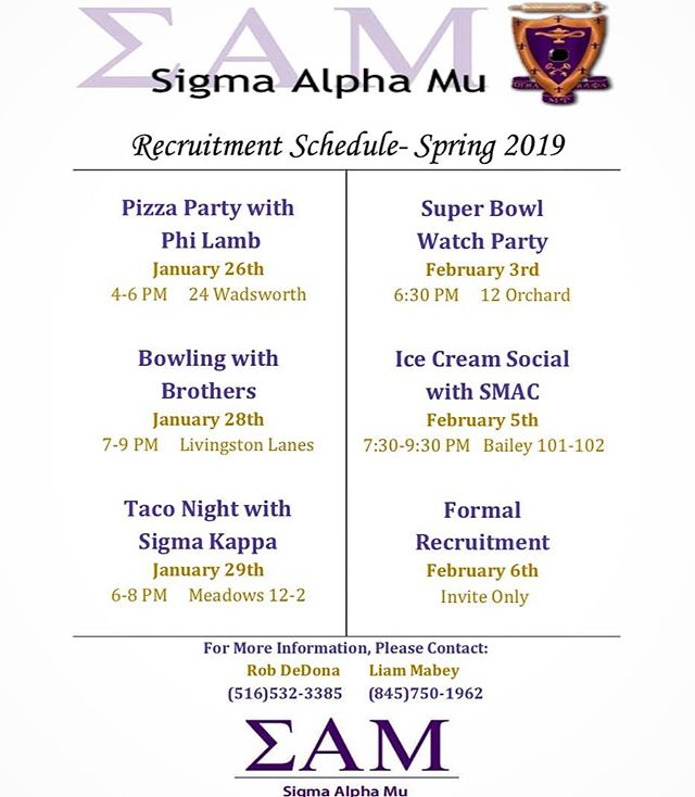 2019 Spring Rush Schedule!!! Contact our Rush Chairs Rob or Liam with any questions, or DM this account. Hope to see you there!!! #rushσαμ #springrush #pullup