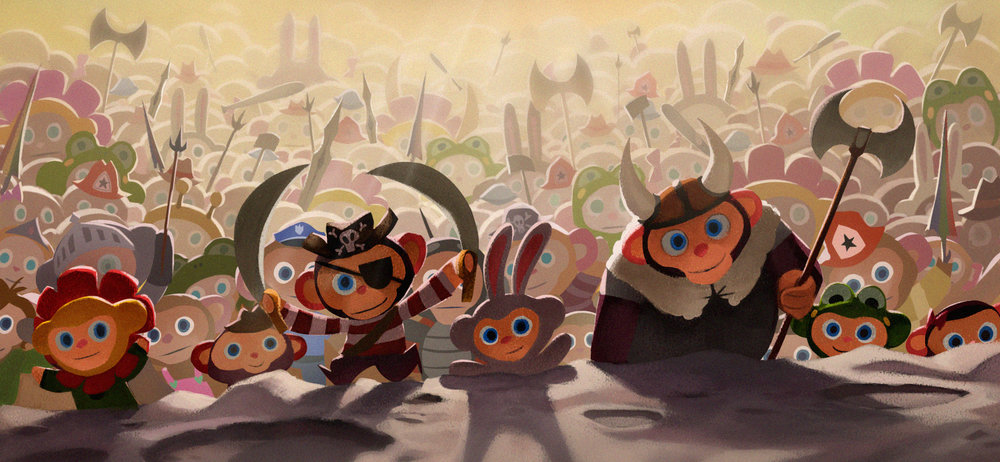 """Early character moment painting with villain Peanut's """"minions,"""" which are tiny wind-up toys."""