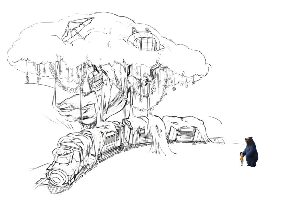 Further development of this same set. Fidget's tree home was supposed to be growing over an abandoned train ride, all nestled within the larger cliffside, shown 2 images above.