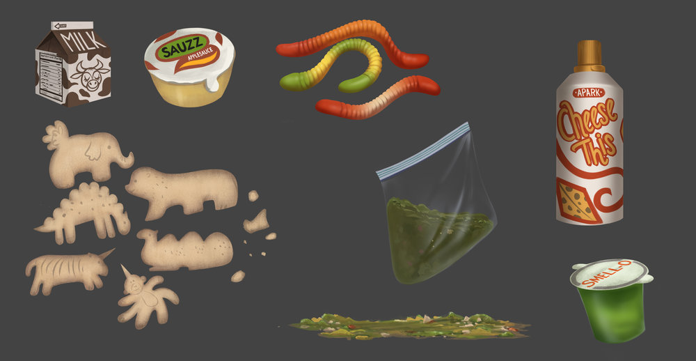 One of my grossest, but most-fun assignments of all time. One of the characters pretends to throw up on a school bus, and I had to design the ingredients for some fake puke.