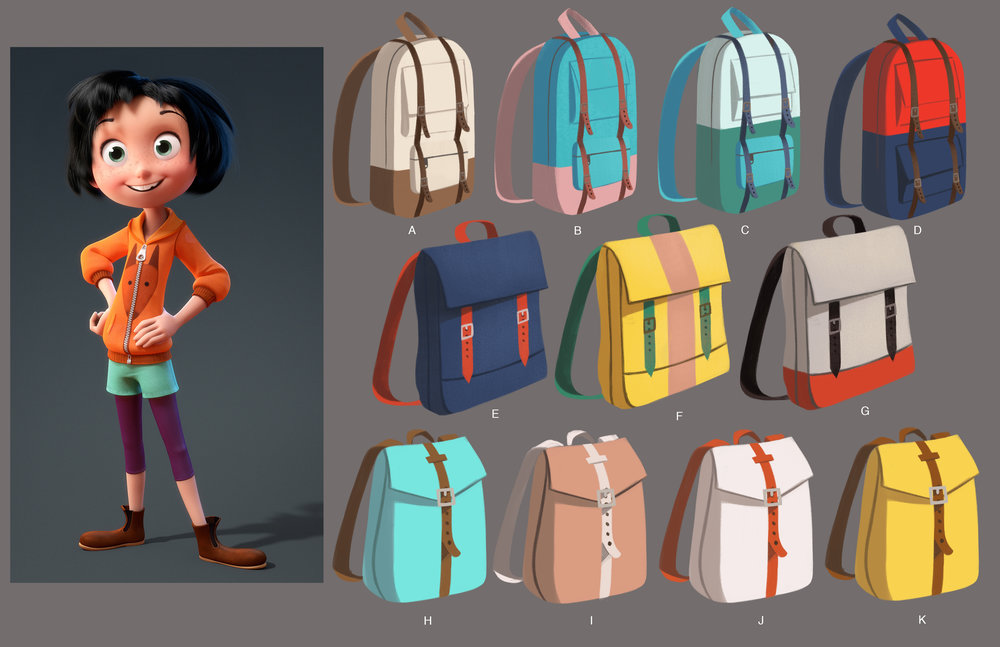 The main character, June, has a backpack that is a key prop in the film. Here are early explorations.