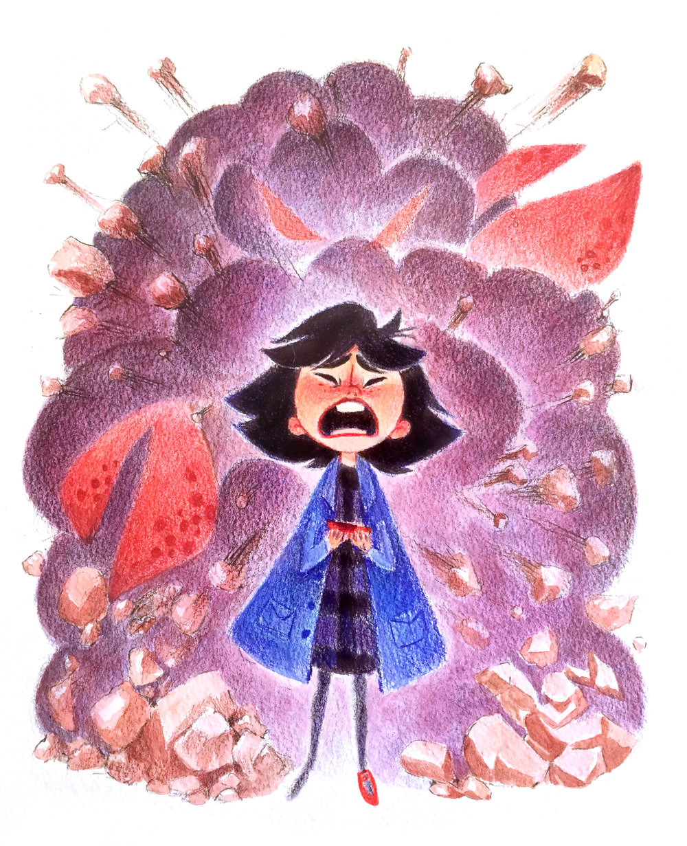 Original colored pencil/watercolor piece created for a Guilermo del Toro tribute gallery show with Gallery 1988, now in the private collection of Guillermo Del Toro himself.