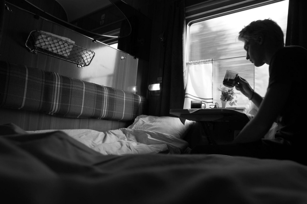 Self-portrait taken on overnight train; Russian/Latvian border. (2012)