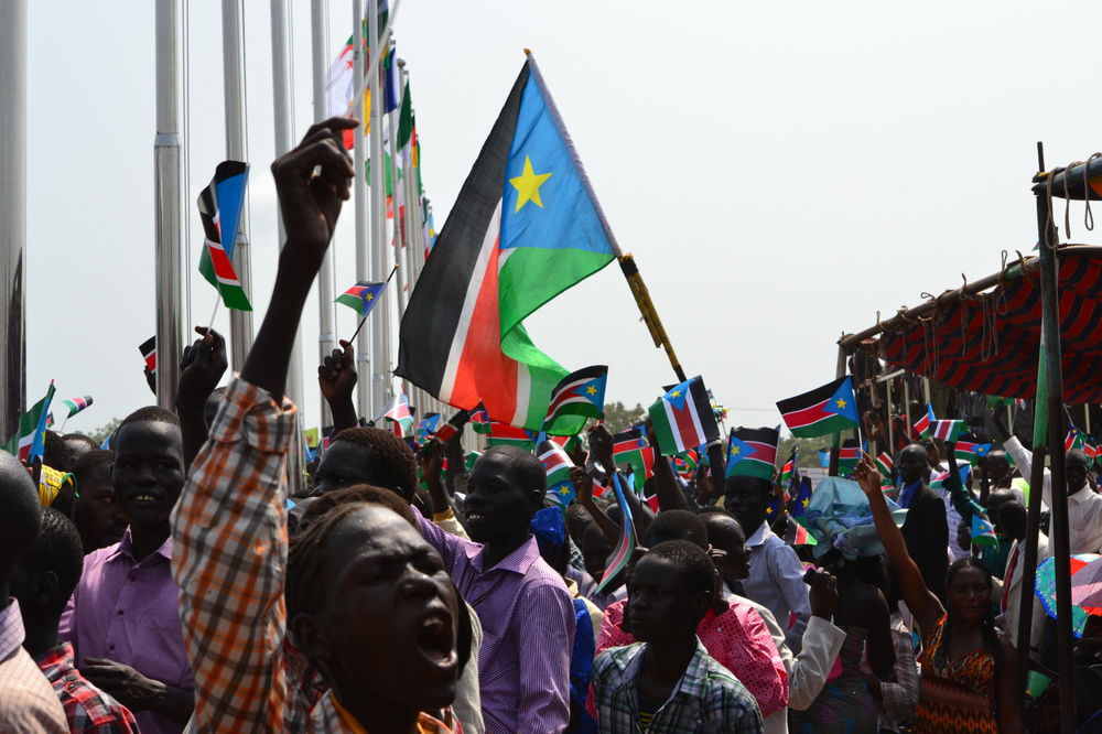 Villagers in Juba, South Sudan celebrate their first day of independence; now citizens of the newest country in the world. (2011,  New York Post )
