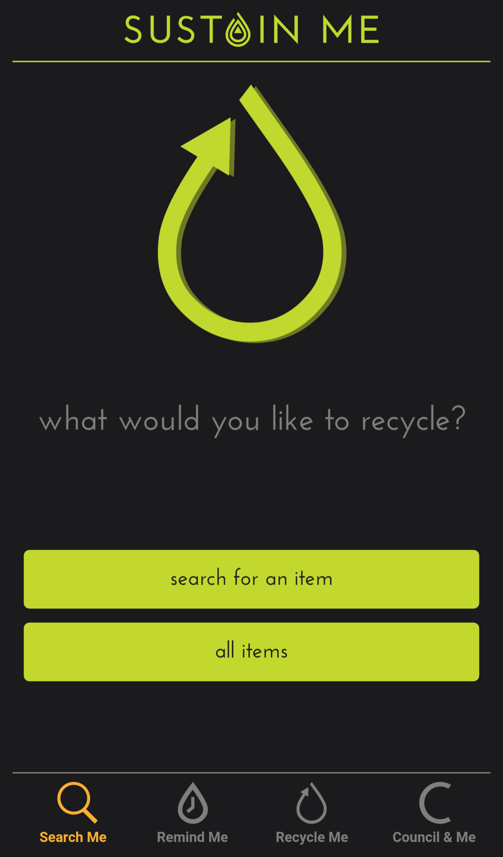 Sustain Me homepage - search how to recycle your waste.