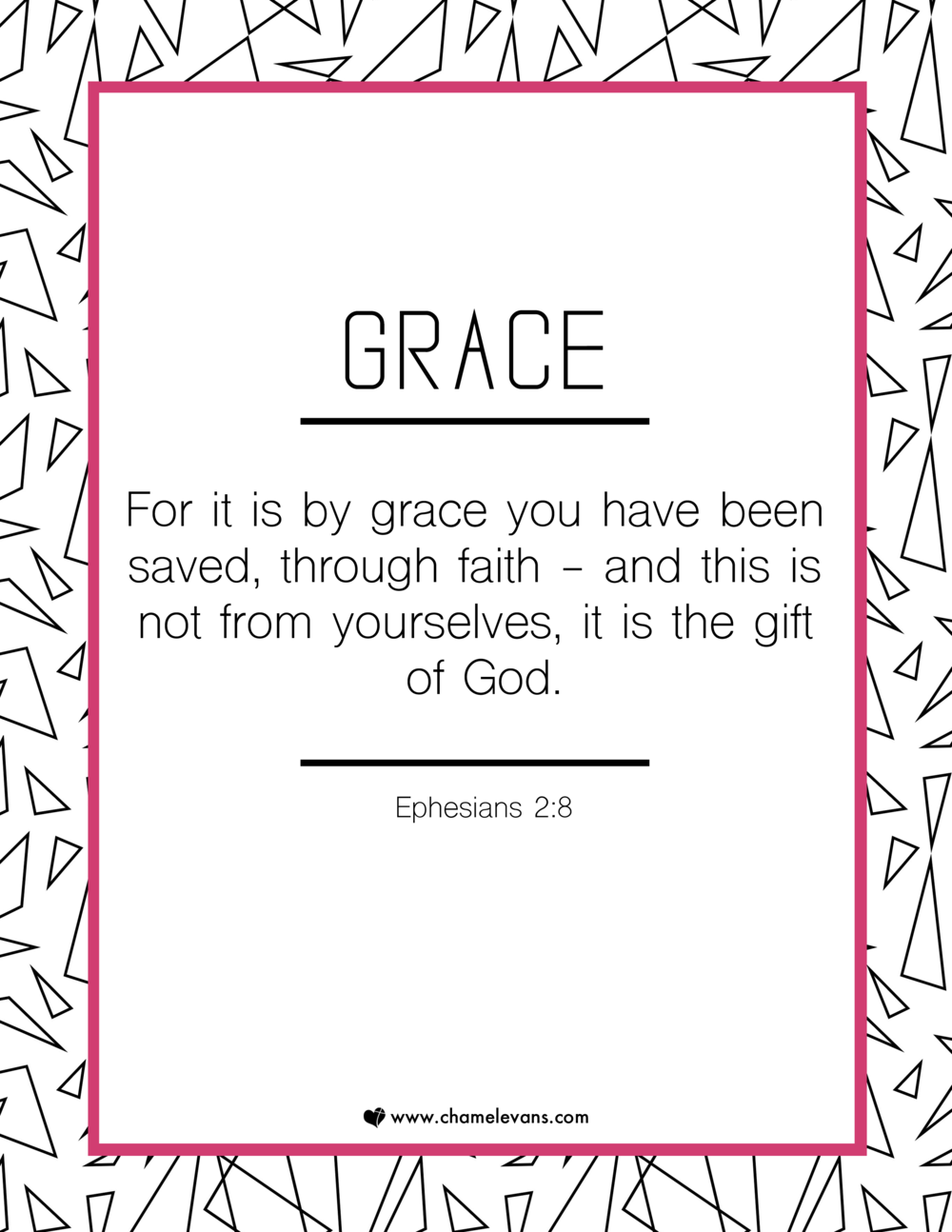 free scripture art printables - grace - stand in God's truth | www.chamelevans.com