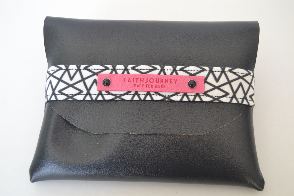 faith journey handmade black faux leather clutch | www.chamelevans.com