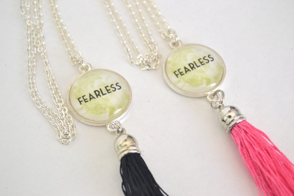 Fearless pendant necklace by www.chamelevans.com | handmade gifts