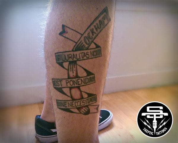 Steven's Ockham's Razor tattoo.