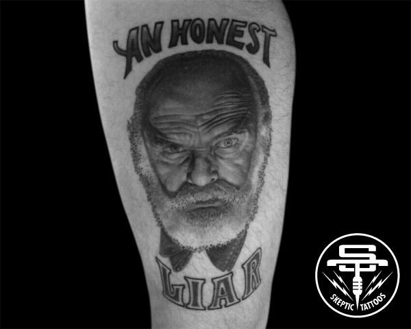 "Tattoo of James ""The Amazing"" Randi on Steven Powers."