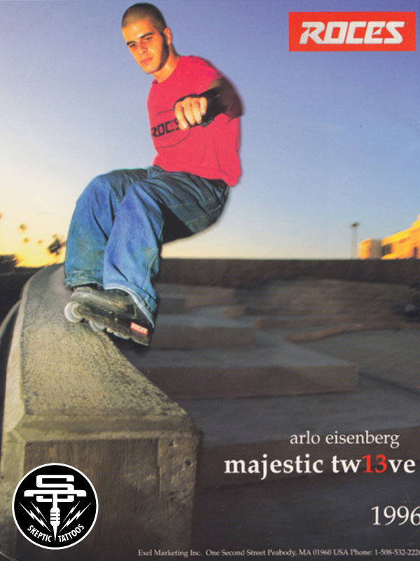 Advertisement for the Majestic 12 aggressive skate featuring Arlo Eisenberg, 1996.