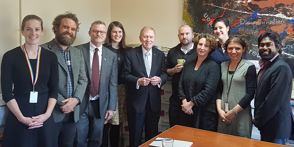 Fitzroy Legal Service Leadership Team and Board Member, Ben Walkenhorst with Former High Court Judge, Michael Kirby AC CMG.