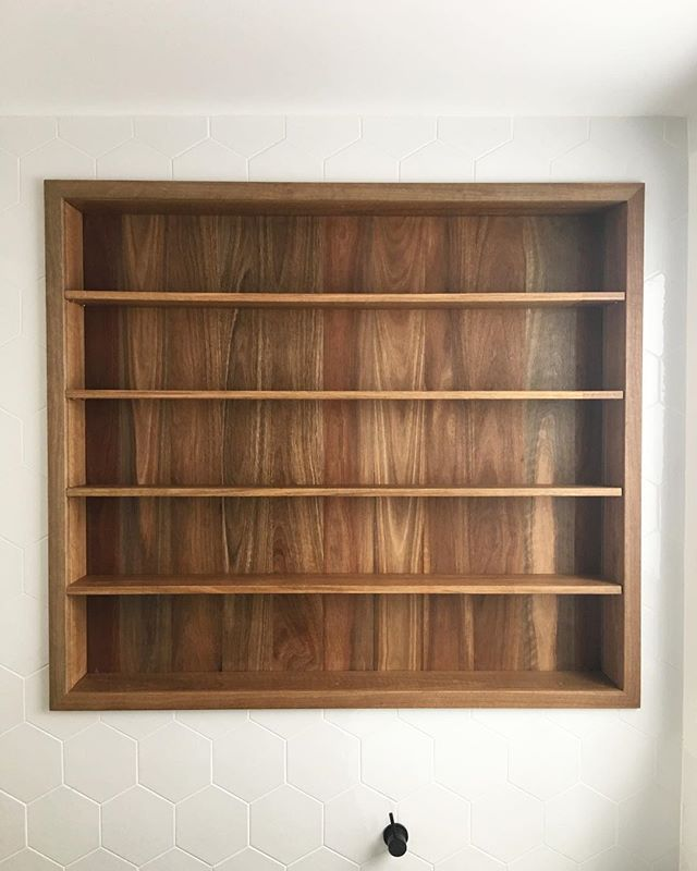 Spotted gum recessed bathroom shelving