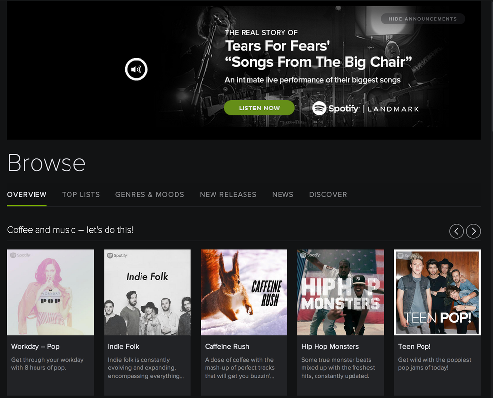 "Look at these ""Discover New Music"" choices on Spotify! 4 of the 5 are sampled electronic artists."