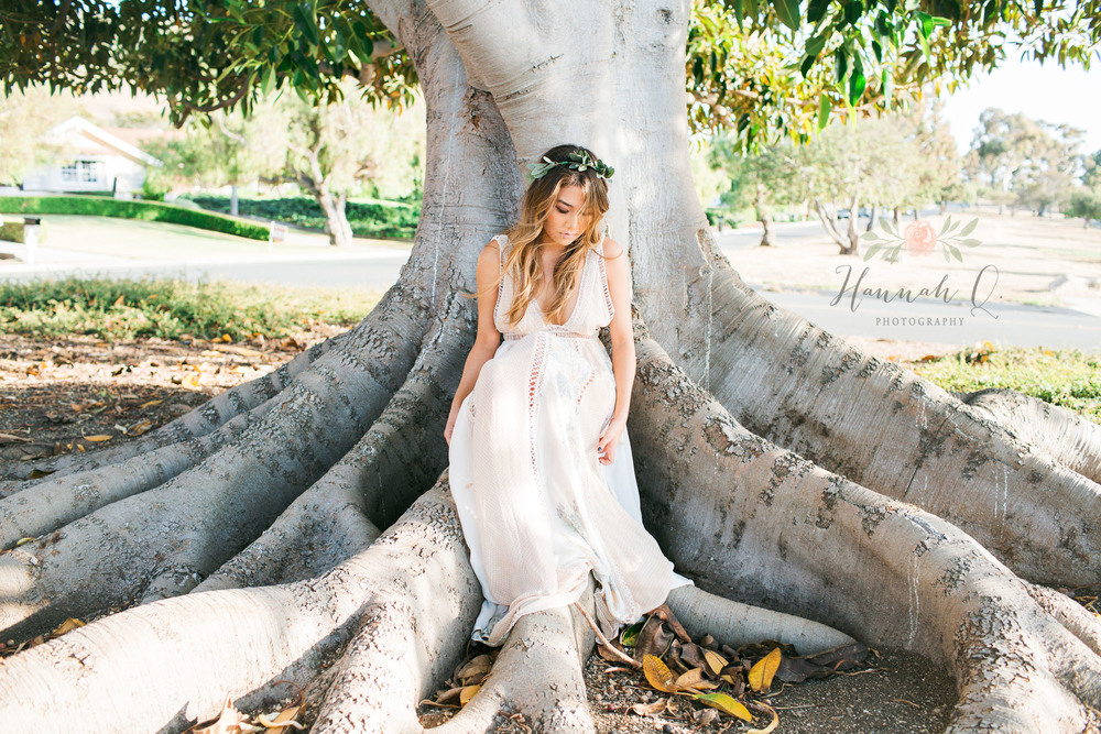 Here I was going for a more natural, earthy, grounded modern bride.  I made the flower crown with olive branches, and the dress from Free People. We shot this at Rancho Palos Verdes.