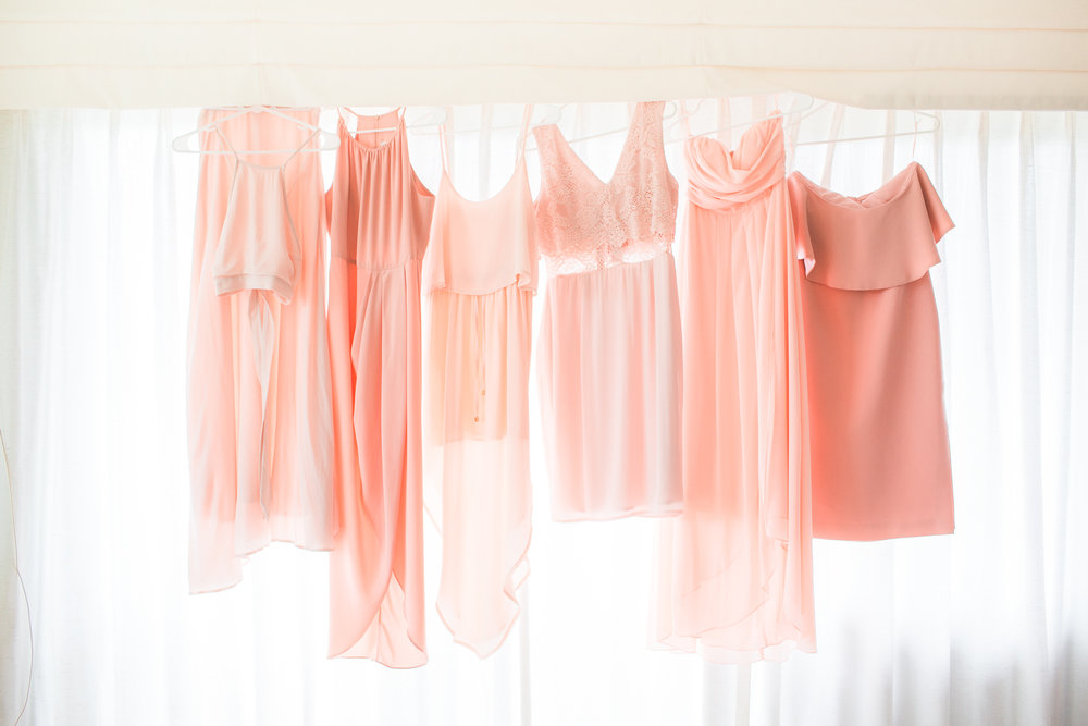 These beautiful blush pink bridesmaid dresses <3