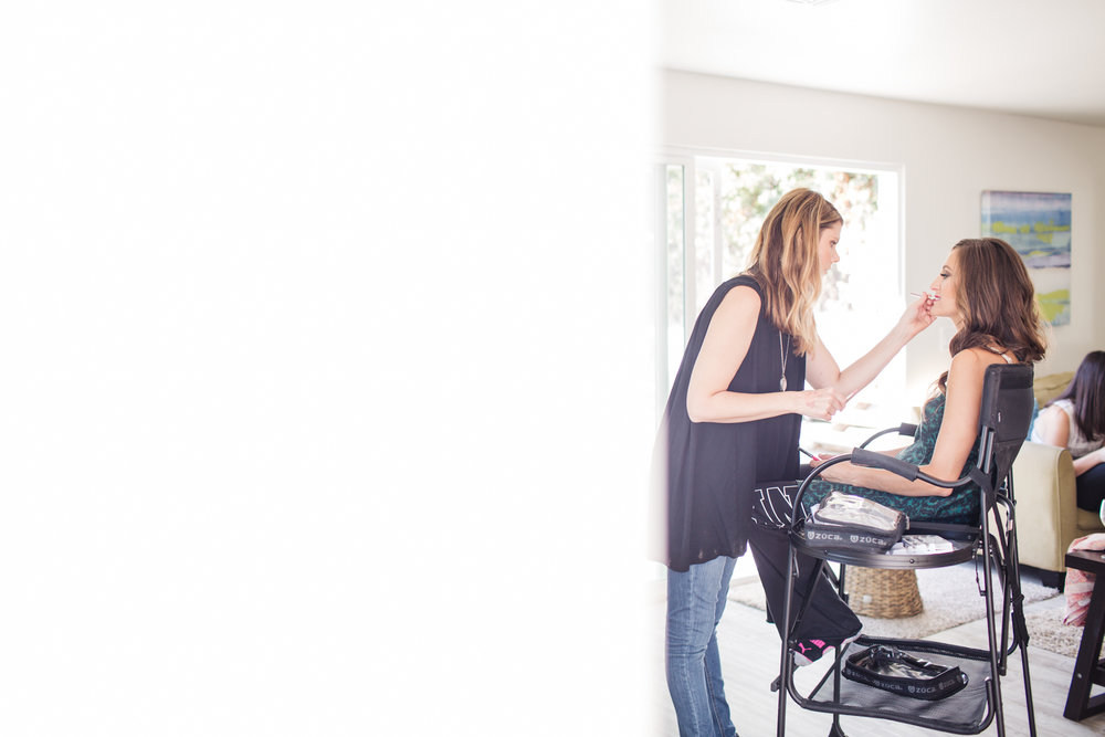 Make-up Artist Amber Silva doing her thing on the already gorgeous bride