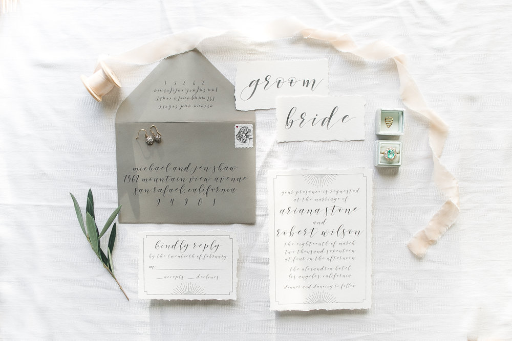 Flat-lays are never easy to get.  But all it takes is moving the pieces around and just trying different styles + using different props.  Definitely helps having such gorgeous invitations by Sweet and Crafty!