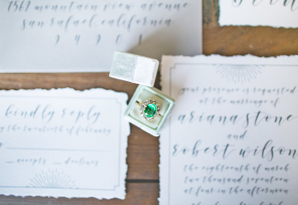 This emerald ring and these invitations made the perfect pairing.  Beautiful.  JUSSSSTTT beautiful.