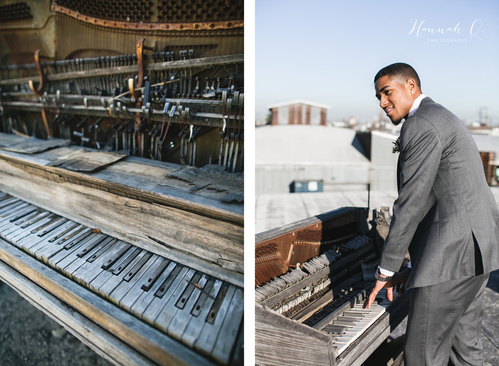 We found a  very  old piano on the roof!