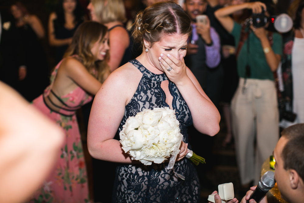 Jessica's younger brother proposed to his girlfriend as soon as she caught the bouquet.  Such a beautiful moment.  I was in tears!