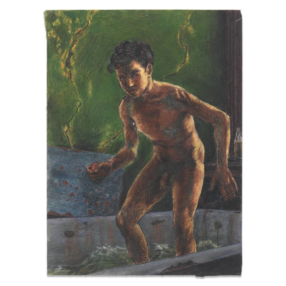 Pastel and pencil on paper of bathing male nude by Reginald Alan Westaway 1940s. Domestic scene with a pervading menace, depicting the grime and austerity of the period. Available. 39cm x 28cm
