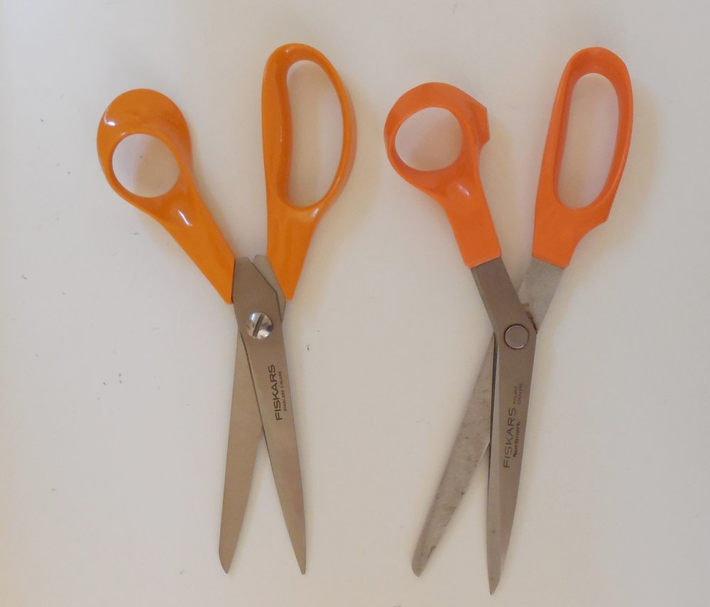 Lightweight and all purpose - For fast action when cutting a length of cloth from  that 20 lb. roll teetering on the edge of a table, we grab these Fiskars shears. We love them so much we're on a second pair. The originals, pictured on the right, were purchased in 1974. They still work great, but were retired after 40 years out of respect for their age and accomplishments. Think of them as the Secretariat of scissors.