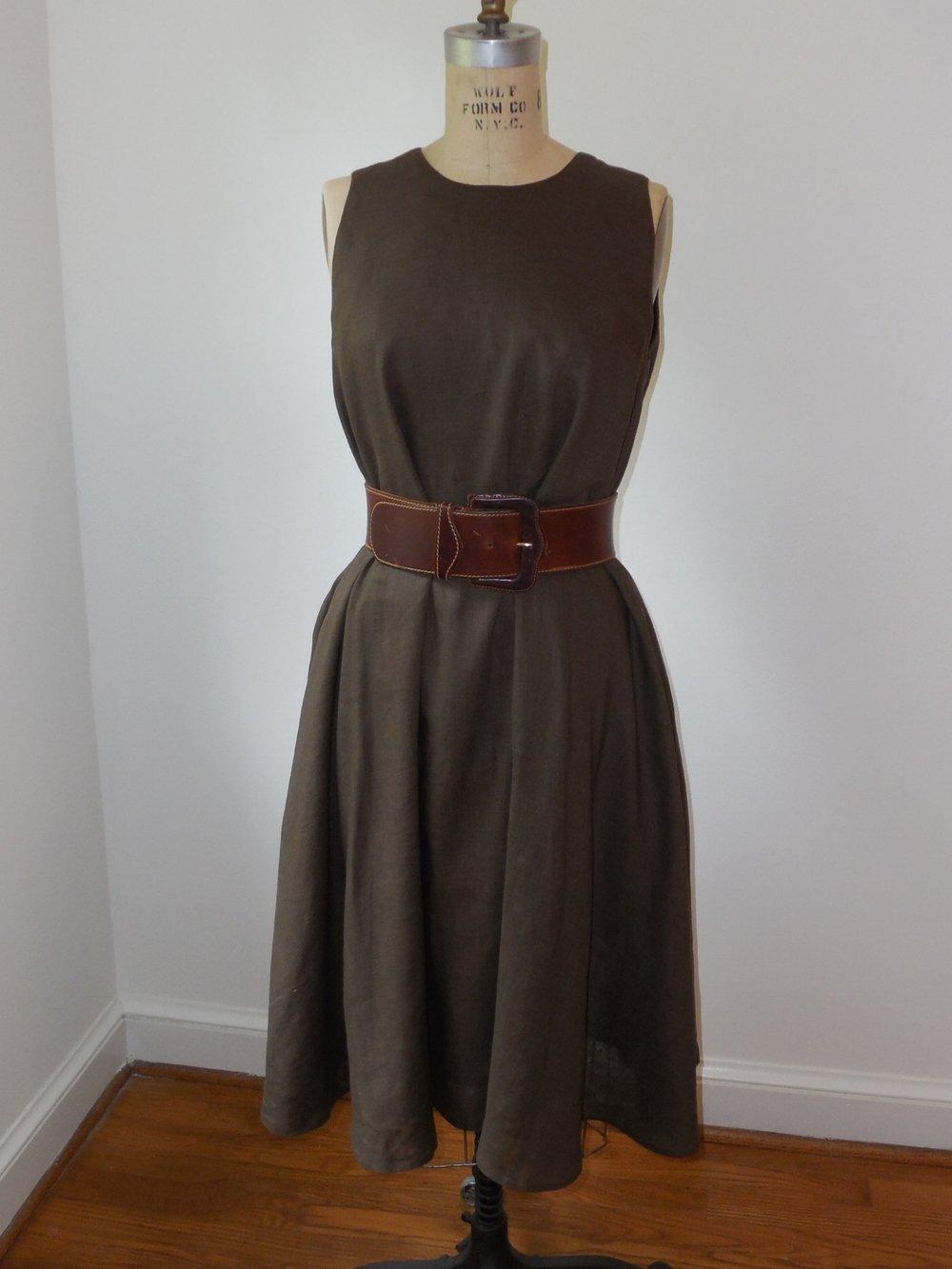 anikka becker. blouson dress in cocoa linen.JPG