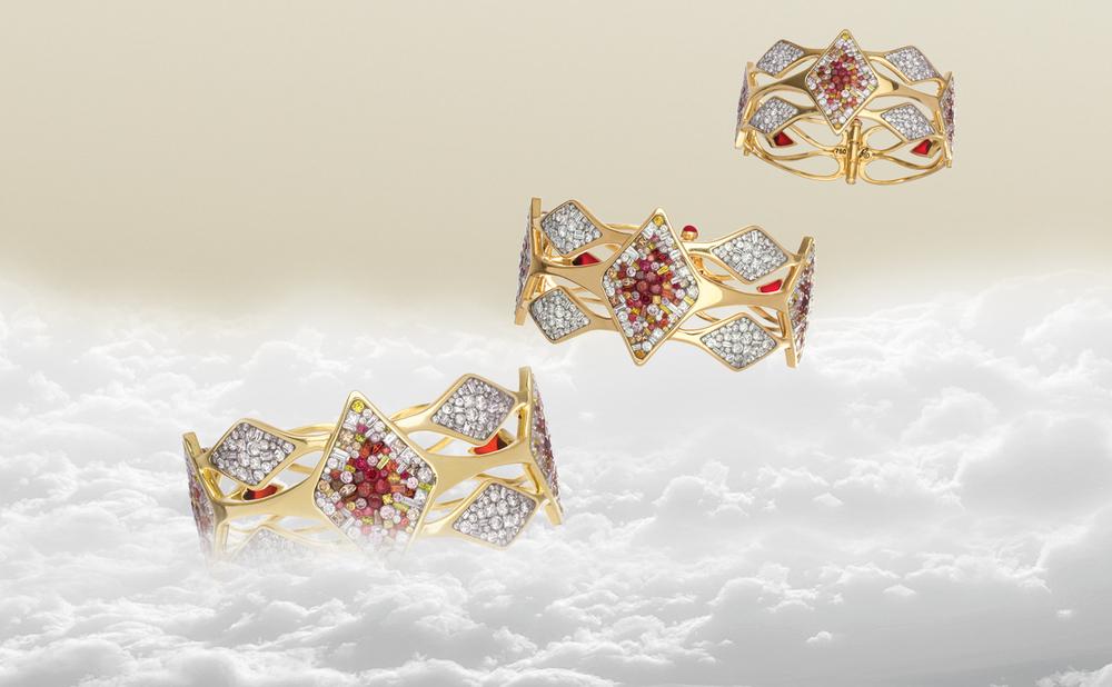 Lux Geometric Hinged Cuff Bracelet