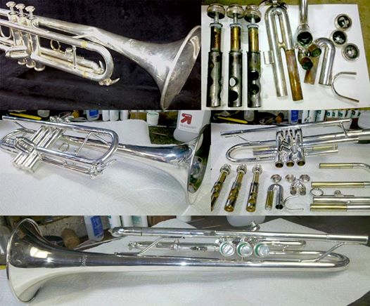 Blessing trumpet before and after receiving Ultrasonic cleaning, dent removal and slide and valve realignment.