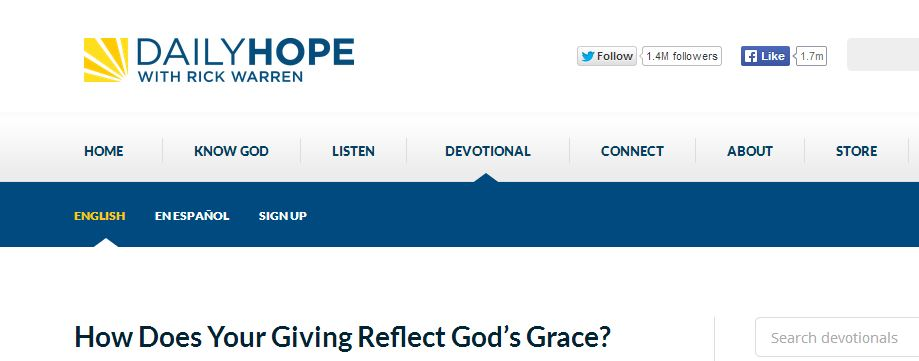 Read Rick Warren's Post on giving and grace