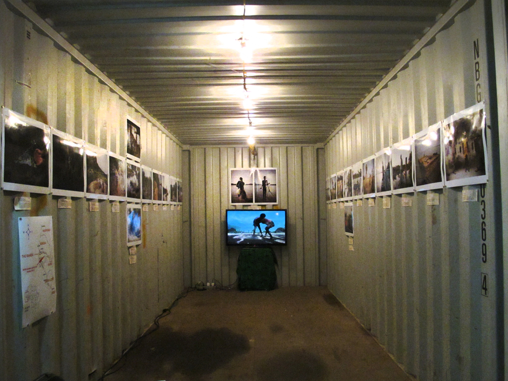 Inside a Photoville exhibition container