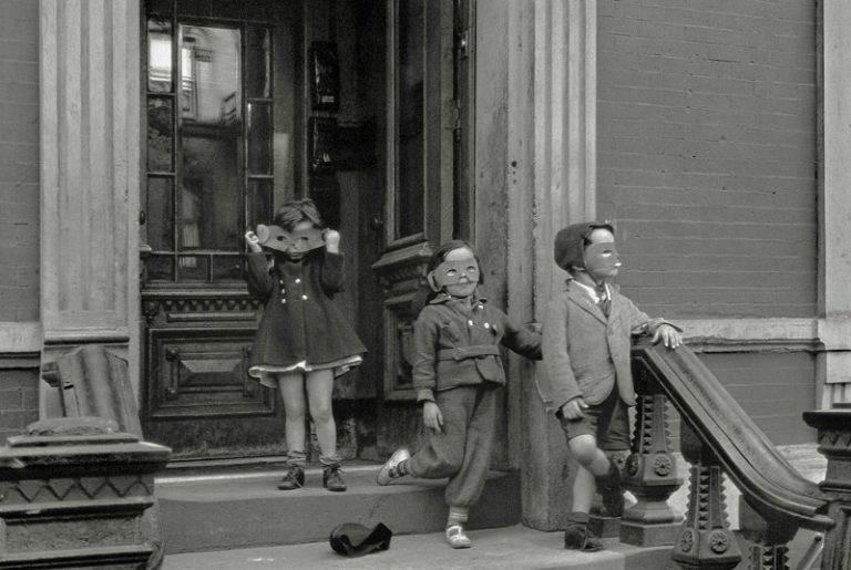 """""""Halloween."""" One of Helen Levitt's most celebrated photographs of all time."""