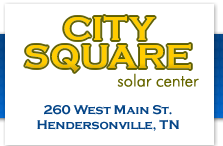 City Square Solar Center, Hendersonville, TN Home to Tennessee's Largest PV Solar System - 288 solar panel system (which covers 40% of the roof) offsets property's energy costs by at least $22,850 annually. The city square has received 3 TN Clean Energy Technology grants and Federal Energy Investment Tax Credit, covering 70% of the installation costs. Phone: 610-824-7290 Location: 260 West Main St, Hendersonville, TN