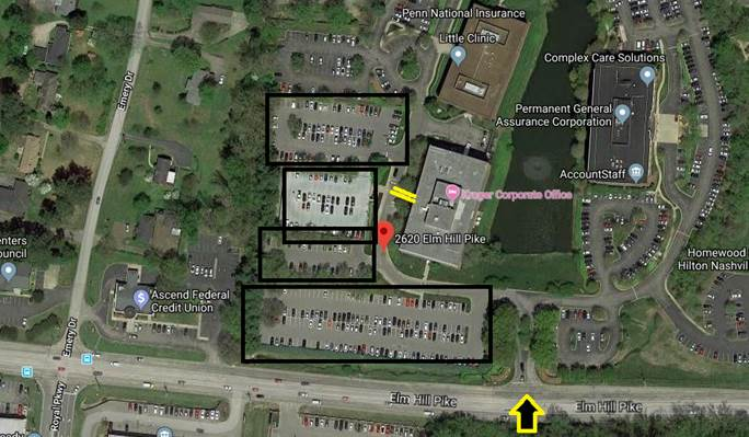 Parking at Kroger Corporate Offices: Enter from Elm Hill Pike and park in any of the outlined parking lots. Enter the building at the entrance highlighted in yellow.