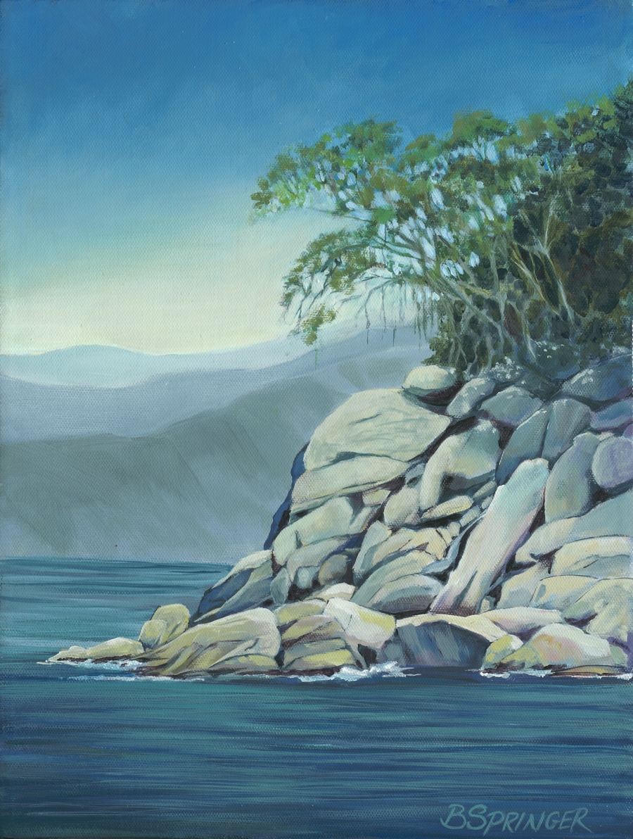 Tree on the Rocks 16 x 12 Acrylic