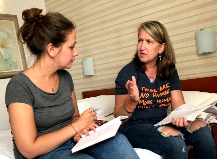 Kim Klett, right, meets with Alma Zero to plan teacher training in Sarajevo, Bosnia and Herzegovina