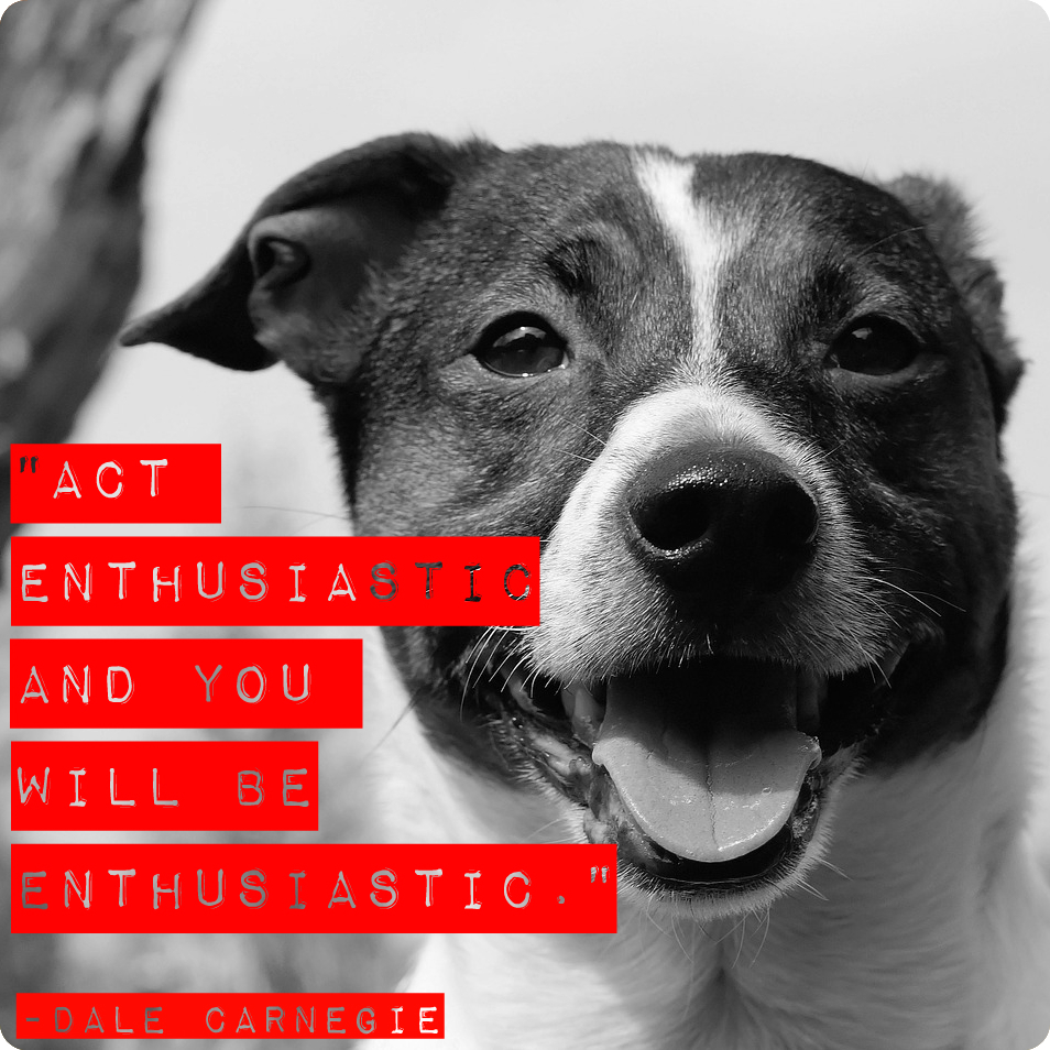 """""""Act enthusiastic and you will be enthusiastic."""" Dale Carnegie"""