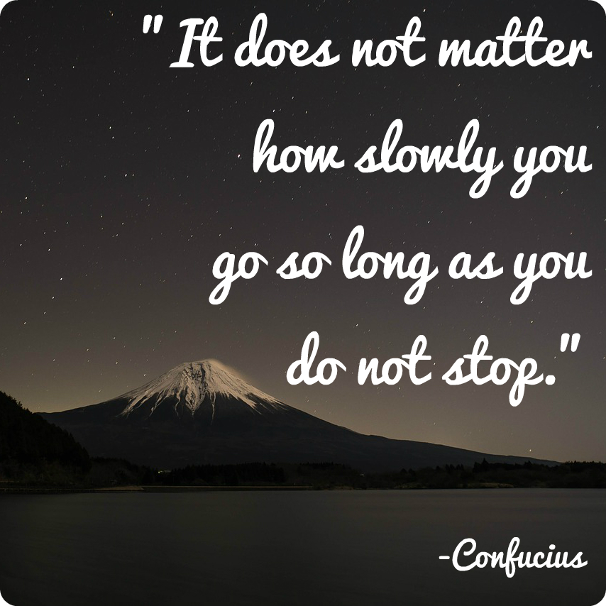 "It does not matter how slowly you go so long as you do not stop."" Confucius"