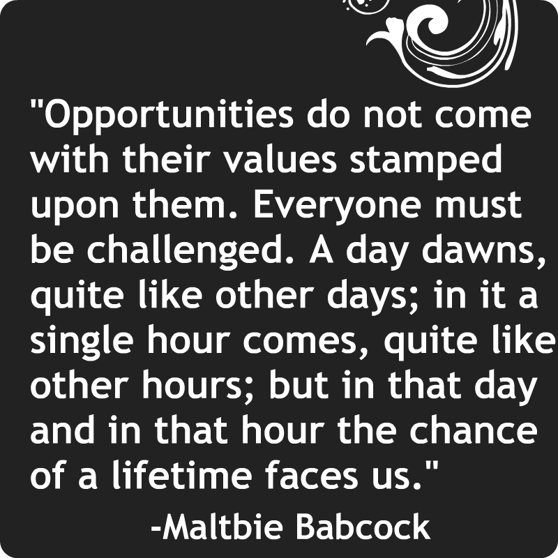 Opportunities do not come with their values stamped upon them ...
