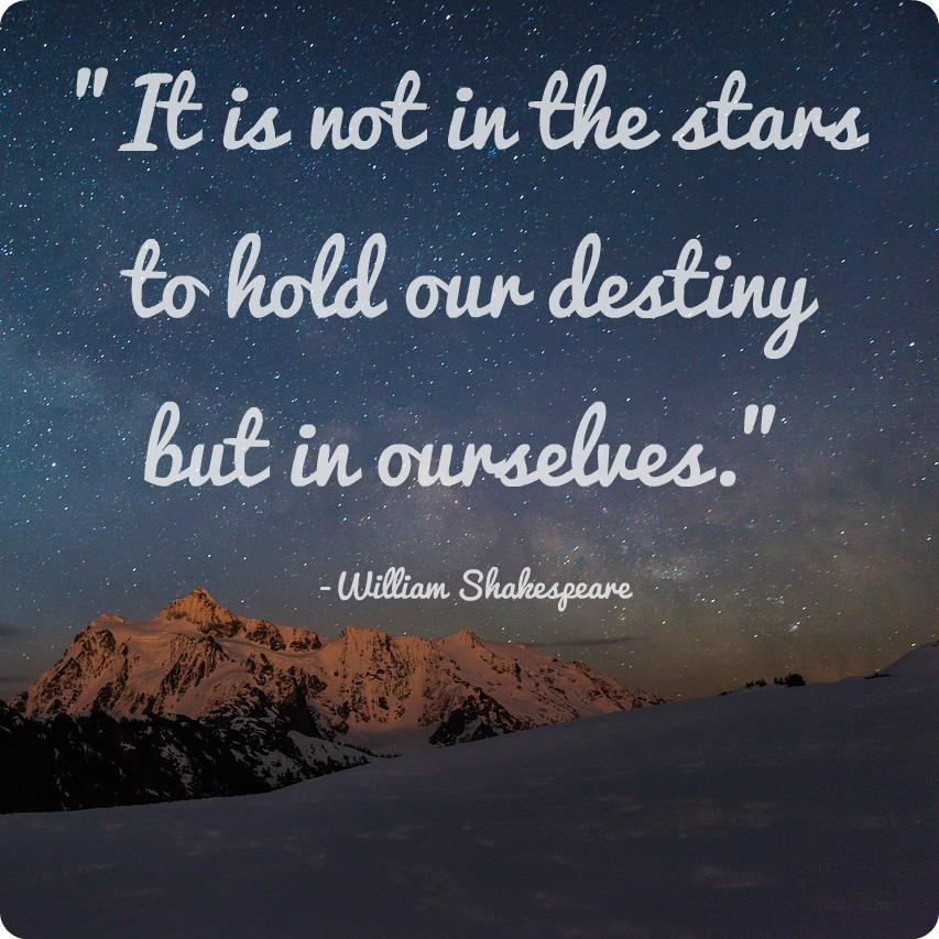 It is not in the stars to hold our destiny but in ourselves. William Shakespeare