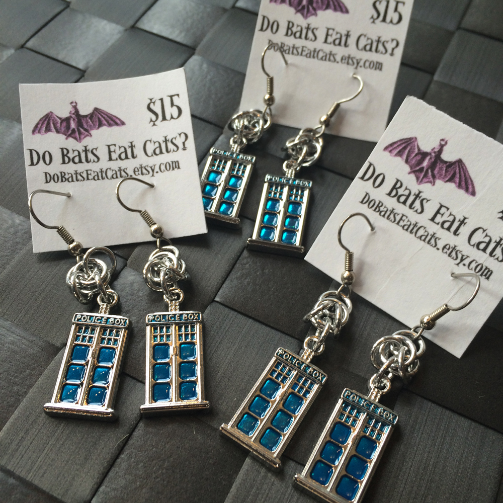 TARDIS + chainmail earrings by Do Bats Eat Cats
