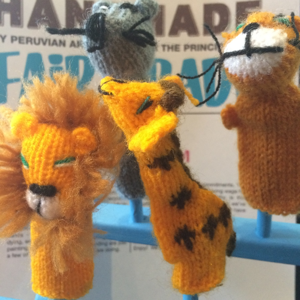 Handmade, Fair Trade knitted finger friends.
