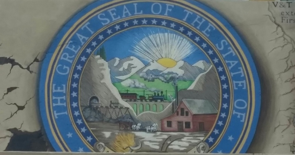 The first image completed on the mural, the State Seal (Corrie Zam-Northan)