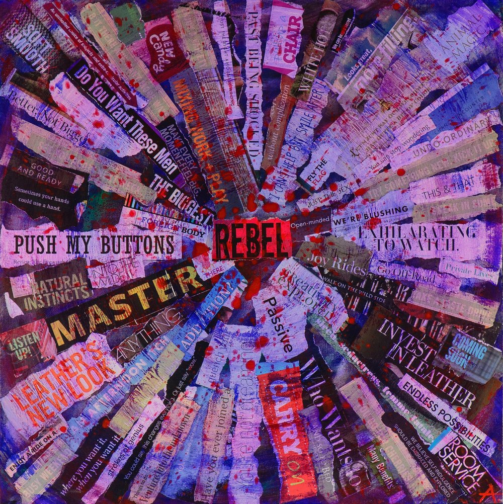 """VORTEX OF A REBEL  mixed media on canvas with acrylic and paper  24""""x24""""  sold"""
