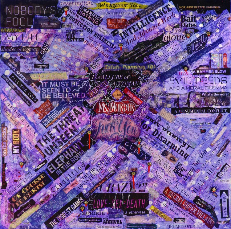 """MS. MURDER  mixed media on canvas with acrylic, paper, bullets and casings  30""""x30""""  limited edition prints also available"""